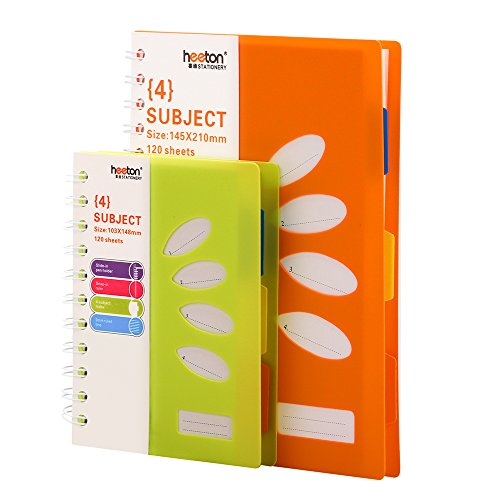 Notebook Subject (Spiral Notebook, 4 Subject Notebook, A5 Spiral Notebooks, PP Hard Cover, Each 240 Pages, 2 Pack (Green+ Orange))