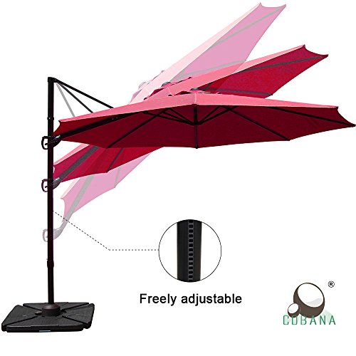 Burgundy Patio Umbrella (COBANA 10ft Cantilever Offset Patio Umbrella with Vertical Tilt And 360 Degree rotation function, Burgundy)