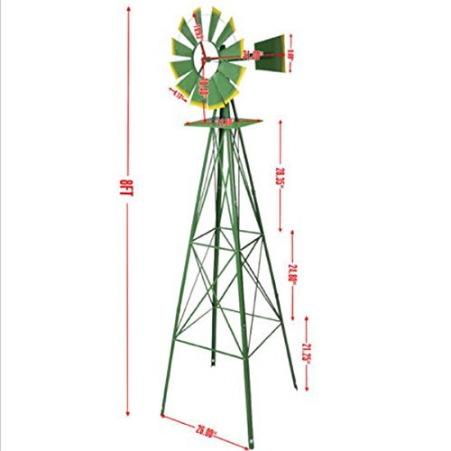 USA Premium Store Windmill Ornamental Wind Wheel Green And Yellow Garden Weather Vane 8Ft Tall ()