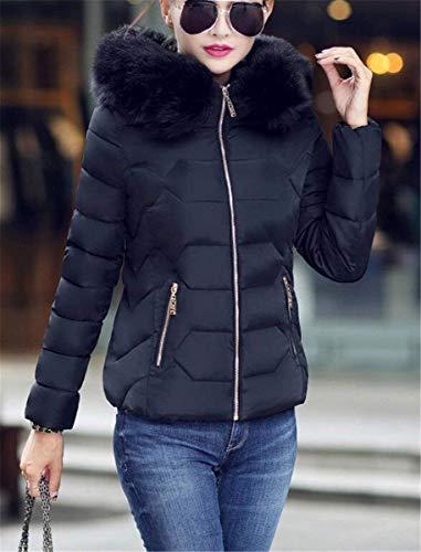 à glissière avec femmes courtes à Ce fermeture pour manches en Schwarz d'hiver duvet Vestes Sw8qtBHt