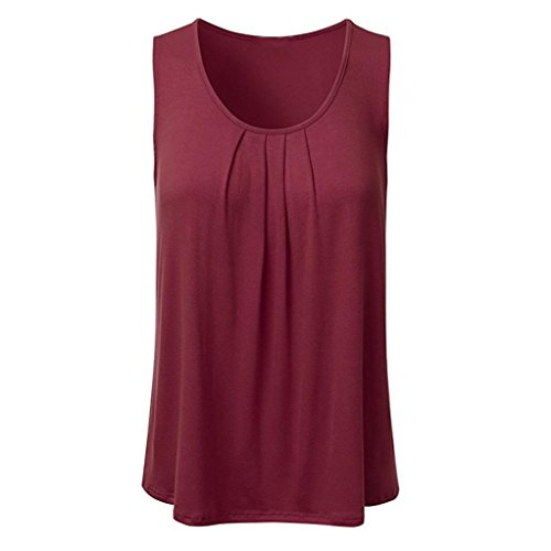 Blouse Sleeveless Lined - Women's Tank Top, vermers Casual Solid Sleeveless Pleated Scoop Neck Loose Vest Blouse (2XL, Wine Red)