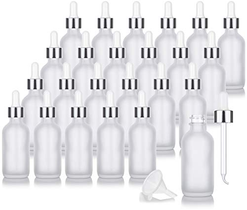 2 oz Frosted Clear Glass Boston Round Bottle with Silver Metal and Glass Dropper (24 pack) + Funnel for Essential oils, Aromatherapy, E-liquid, Food grade, BPA free