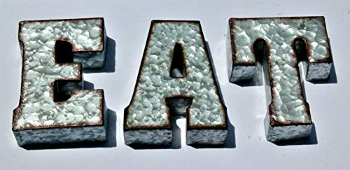 RUSTIC EAT Galvanized Metal Tin 3D Wall Letters Sign Block Monogram Standing or Hanging 7 inches Tall Farm House Decor (Eat Sign Metal)