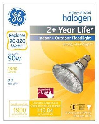 GE Lighting 62716 90-Watt 1900-Lumen Outdoor PAR38 Halogen F