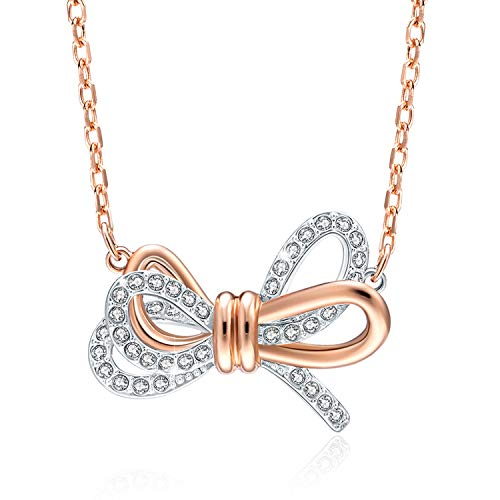 GAEA H Bow Pendant Necklace with Swarovski Crystal Jewelry-Sterling Silver Knot Necklaces