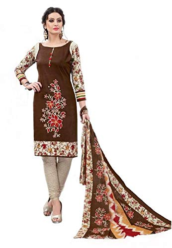 f4056a647b Shreemanya Women Ethnic Dress Material Cotton Printed Designer Brown Color  Suit (Suit Salwar Dupatta UnStitched): Amazon.in: Clothing & Accessories