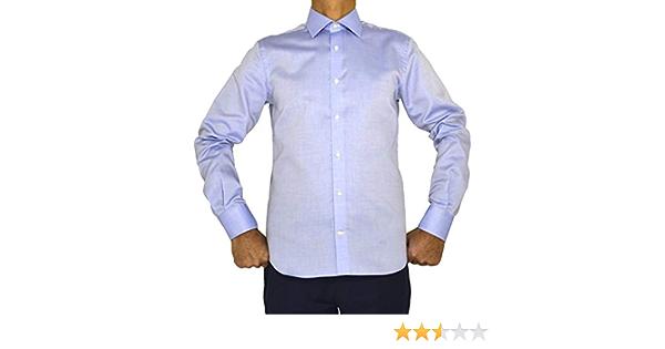 E. MECCI M05 Camisa para Hombre 100% algodón Azul Claro Regular Fit Manga Larga