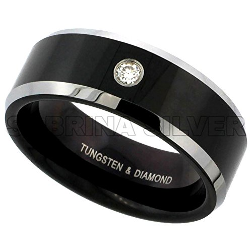 Bezel Diamond Wedding Band - 8mm Black Tungsten 900 Diamond Wedding Ring 0.07 cttw Two-tone Beveled Edges Comfort fit, size 8.5