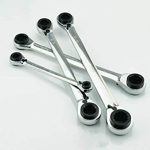 TOOLSTAR Ring Ratchet Spanner,4 in 1 Reversible Ratchet Spanner Multi-Purpose Ratchet Combination Wrench Tool Pack of 1, 8 * 10-12 * 14mm