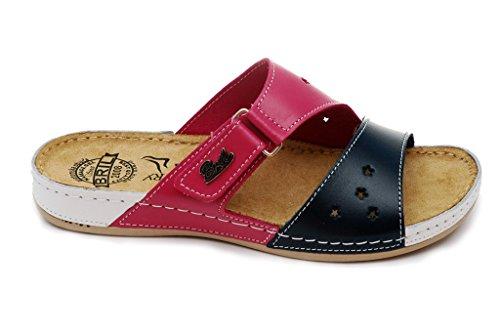 Bril Sandalias Para Mujer Cuero Zapatillas Zapatos Zuecos rosa De blanco Rosso Punto Y71 Azul Dr qCEawFgx