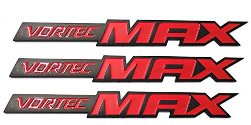 3pcs Vortec Max Door Emblem Logo, Badge Plate Band Decal Replacement for Chevrolet 06-09 Silverado Sierra SS 6.0 Gm Truck 6.0 Liter Black Red ()