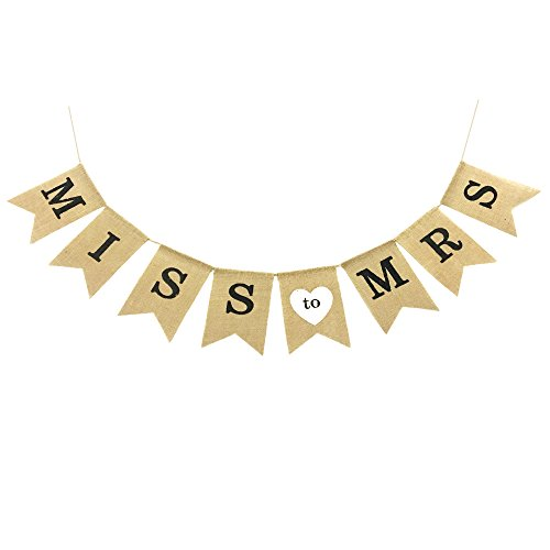Miss to Mrs Natural Burlap Banner for Wedding Celebration Bridal Shower and Bachelorette Party Decorations and photo props. Bridal Natural
