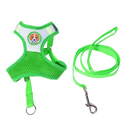 Puppy Harness, OOEOO Pets Dog Mesh Walking Chest Collar Strap Durable Walk Harnesses Vest (Green, S)