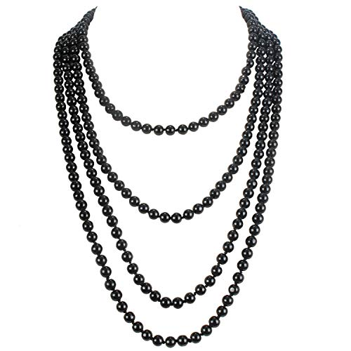 (KOSMOS-LI 1920s Retro Faux Pearls Black Beads Cluster Long Pearl Necklace 58