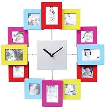 Photo Frame Clock (Multi-Coloured) - Add 12 Photos - Great ...