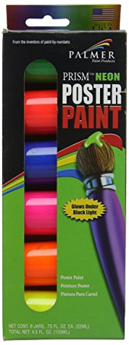 Palmer 16646-6 Neon Prism Poster Paint Jars (6 Pack), 75 oz, Multicolor (Palmer Prism Acrylic Paint)