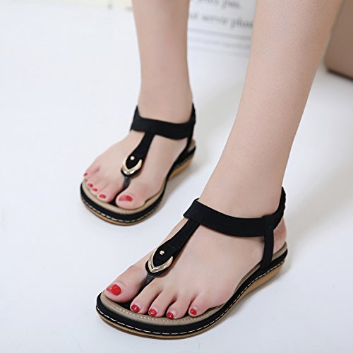 Pictures of Wollanlily Women Summer Beach Flat Sandals T- 3