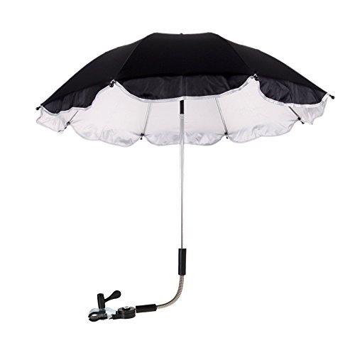 Awakingdemi Baby Stroller Umbrella, Baby Stroller Cover Parasol for Stroller Sun Rain Protection UV Rays Umbrella (Black)