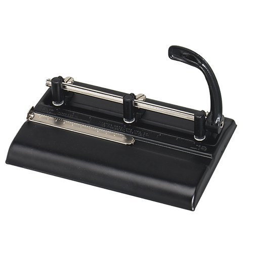 Master Adjustable 32-Sheet 3-Hole Punch, 11/32 Inches Punch Heads for Convenient 2 or 3-Hole Punching, Black (MAT5335B) Home Supply Maintenance Store ()