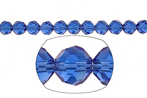 Crystal bead, 34-facet round cut, cobalt blue,8mm 72pcs
