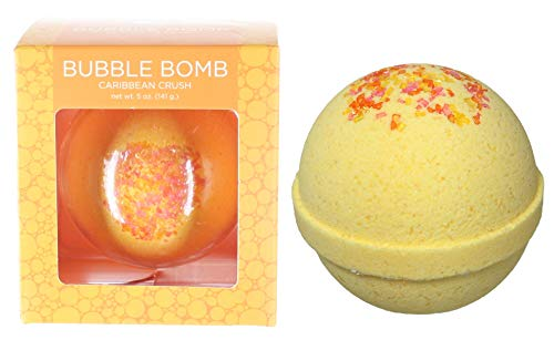 Caribbean Crush BUBBLE Bath Bomb in Gift Box - USA Made Large Lush Spa Fizzy Handmade Gift Idea for Her, Wife, Girlfriend. Releases Color, Tropical Scent, and Bubbles in Bath. Dry Skin Moisturizing ()