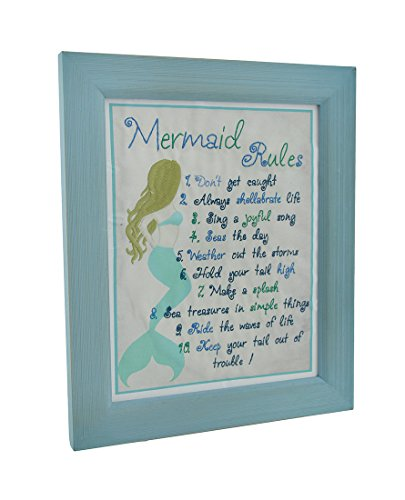 (Zeckos Embroidered Mermaid Rules Framed Wall Hanging)