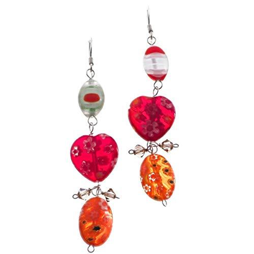 1 3/4'' Adorable LAMPWORK Glass 925 Sterling Silver Drop Earrings YE-1847