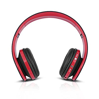 FX-Victoria Over Ear Headphone, for Bluetooth Wireless Headphones, Stereo Foldable Headset with Built in Microphone and Volume Control, On Ear Stereo Wireless Headset, Red