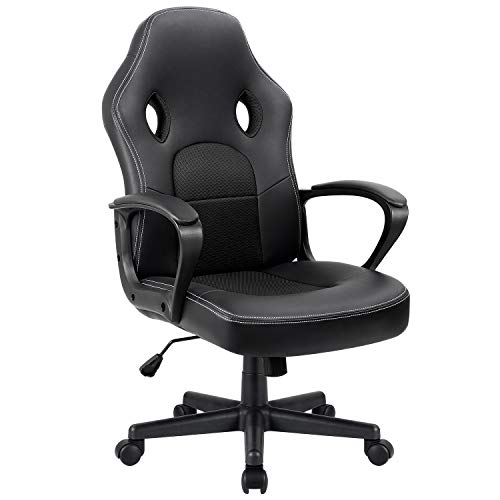 Furmax Office Chair Desk Leather Gaming Chair, High Back Ergonomic Adjustable Racing Chair,Task Swivel Executive Computer Chair Headrest and Lumbar Support (Black) (Gaming Computer Chair)