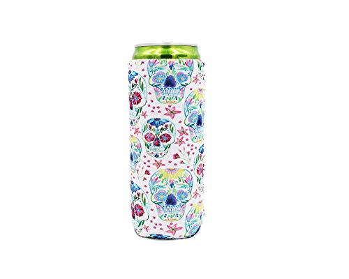 12 oz Slim Can Cooler for Redbull and Michelob Ultra (Sugar Skulls)