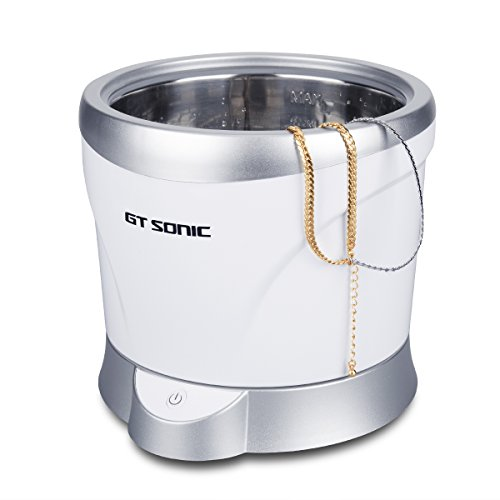 GT SONIC Ultrasonic Cleaner 1L Jewelry Cleaner Tea Coffee Cups Ultrasonic Cleaner 42,000 HZ Waves 35W Power Professional Cleaning Machine for Jewelry Ring Necklace Watches Glasses Denture (Silver)