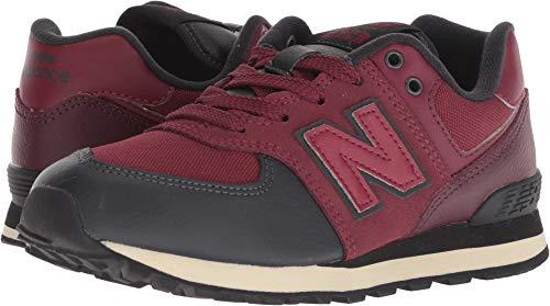 New Balance Boys' Iconic 574 Sneaker, Nubuck Burgundy/Black, 13.5 M US Little Kid -