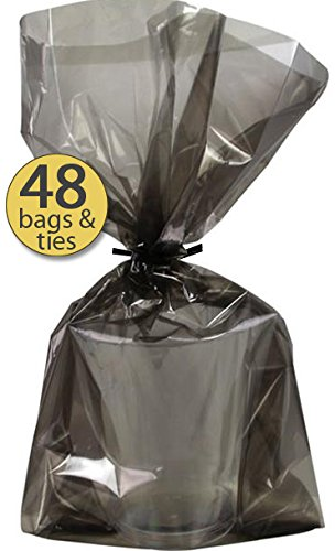 Set of 48 - Black Cellophane Bags With Black Twist Ties - Great Glow Party Supplies Treat Favor Bags - Perfect Halloween Treat Bags - Treat Sacks - Bulk Pack ()