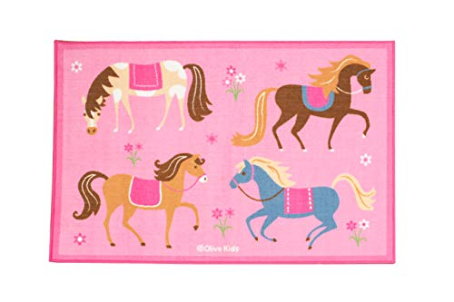 Horse Carpet - Wildkin 39x58 Inch Rug, Features Durable Design, Vibrant Colors, and Skid-Proof Backing, Coordinates with Other Room Décor, Olive Kids Design - Horses