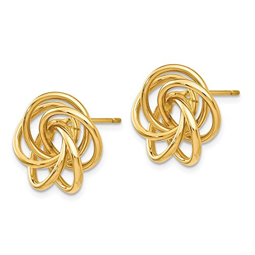 14kt Yellow Gold Polished Love Knot Post Earrings by Perfume4All (Image #1)