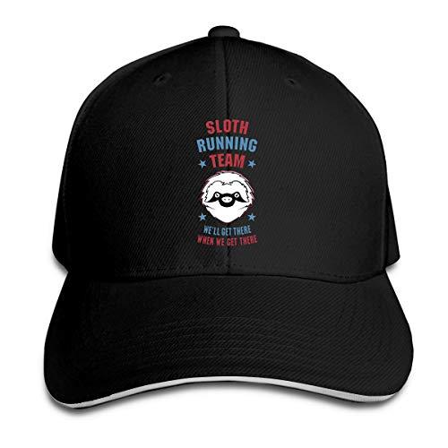 Shenigon Sloth Running Team Cap Unisex Low Profile Cotton Hat Baseball Caps Black