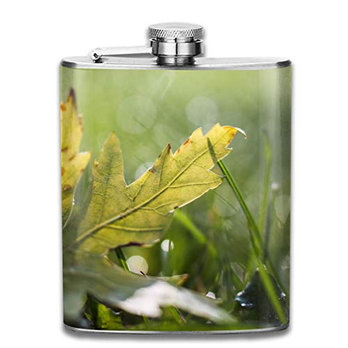 Nature Leaves Drops Dew Fashion Portable Stainless Steel Hip Flask Whiskey Bottle for Men and Women 7 ()