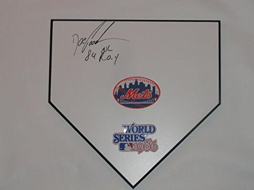 Doc Gooden Signed Home Plate New York Mets 1986 World Series Dwight Proof - MLB Game Used Bases ()