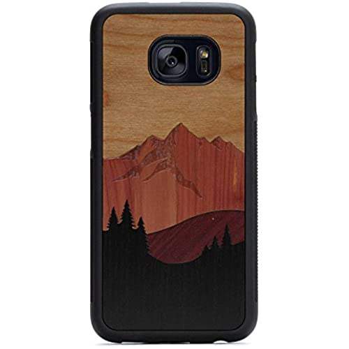 Carved Mount Bierstadt Inlay - Samsung Galaxy S7 edge Traveler Wood Case - Black Protective Bumper with Real All Sales