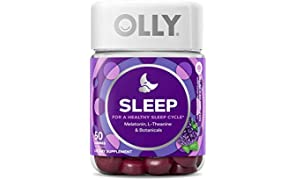 OLLY Sleep Melatonin Gummy, All Natural Flavor and Colors with L Theanine, Chamomile, and Lemon Balm, 3 mg per Serving, 25 Day Supply (50 Gummies)