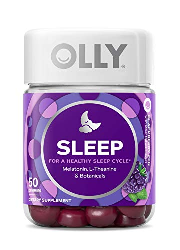 OLLY Sleep Melatonin Gummy, 25 Day Supply (50 Gummies), Blackberry Zen, L Theanine, Chamomile, Lemon Balm, Chewable Supplement