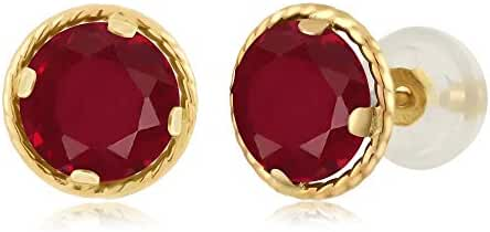 2.00 Ct Round 6mm Red Ruby 14K Yellow Gold Stud Earrings