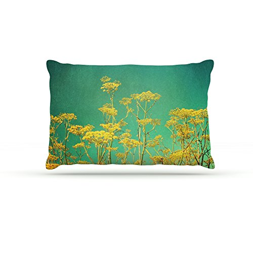 Kess InHouse Sylvia Cook Yellow Flowers  Fleece Dog Bed, 50 by 60 , Teal Sky