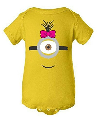 Minions Outfit For Baby (Girl Minion Onesie | Infant Baby Rib Bodysuit | Girl birthday outfit!)