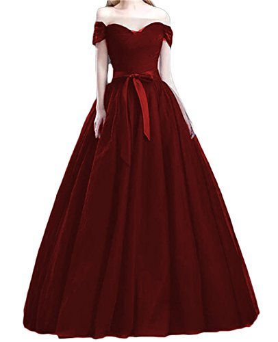 Dydsz Women's Evening Party Dresses Prom Dress Off The Shoulder Maxi Tulle Gown D91 Burgundy 10