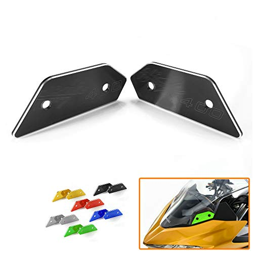 Heinmo Rear Side Mirror Hole Cap Cover Extensers Base Plate For Kawasaki Ninja 400 2018 (Black)