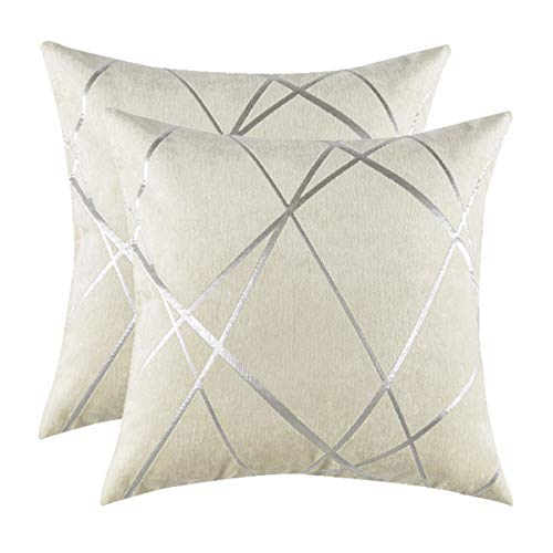 GIGIZAZA Accent White Ivory Silver Decorative Throw Pillow Cushion Covers Set of 2 for Sofa Decoration Soft Thick Jacquard Chenille (Ivory, 20 x 20)