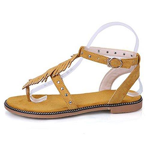 En Orteil Bride Femme TAOFFEN Courroie Ouvert Sandales Boucle Cheville kaki Clip T Confort Plat 70 q8wwBxUE