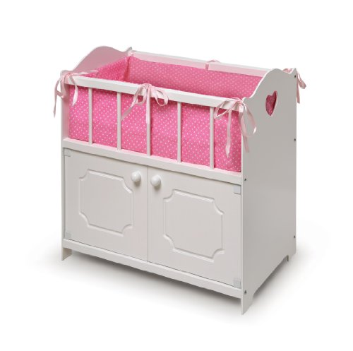 White Storage Doll Crib with Bedding