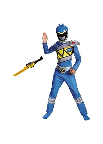 Boys Blue Power Ranger Dino Charge Costume and Toy Sword Accessory (Power Ranger Costume Blue)